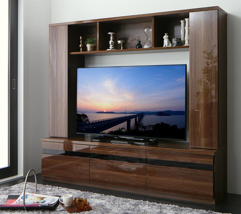 (送料無料) ハイタイプ テレビ台 50V型 まで対応 収納 幅169×奥行き40×高さ152cm 木目 鏡面仕上げ ハイタイプテレビボード Sharon シャロン 木製 壁面収納 50インチ グロスブラウン