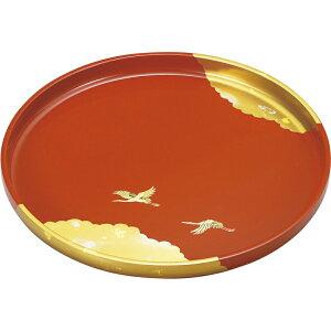【まとめ買い5セット】日本製 9.0丸盆(古代朱塗) 純金箔工芸 国産 和食器 高級感 和モダン 和風 料亭 旅館 和食屋 和菓子屋 和テイスト レトロ おしゃれ かわいい 気品 上品 ラウンド型 丸型