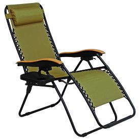 送料無料 リラックスチェアー 椅子 カーキ【LC-4058BR】