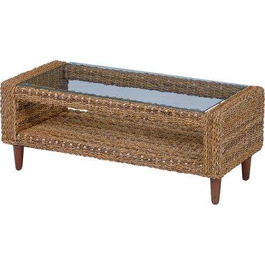 丁寧に編みこまれたアバカ素材、アジアンリゾートのような雰囲気が味わえます。天板には強化ガラス使用。