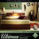 ベッド 収納付き ダブル フレーム マットレス付き 収納 ベッド ダブルベッド LEDライト照明付き コンセント付き 収納ベッド ウルティムス 【ボンネルコイルマットレス:レギュラー付き】 ベッド下