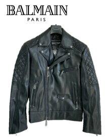 大特価 BALMAIN PARIS バルマン 8008 ブルゾン エコレザー ライダース ジャケット アウター メンズ 黒 ロゴ