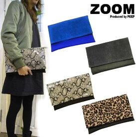 送料込み ZOOM peep ズーム バッグ/コンビ素材 クラッチバッグ 鞄 バッグ bag ベロア レザー パイソン レオパード スネーク ZOOM 靴 レディース 小物 雑貨 プレゼント ギフト