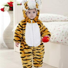 ベビー 赤ちゃん キッズ ジュニア 子供 男の子 女の子 着ぐるみ 長袖 トラ タイガー 干支 虎 年賀状 防寒 厚地 ロンパース 耳付 フード