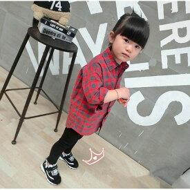 【在庫処分】キッズ ジュニア 子供 女の子 長袖 シャツ シンプル カジュアル チェック 普段着