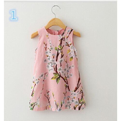 キッズ ジュニア 子供 女の子 ノースリーブ ワンピース 丸首 桜 花柄 柄物 かわいい 普段着