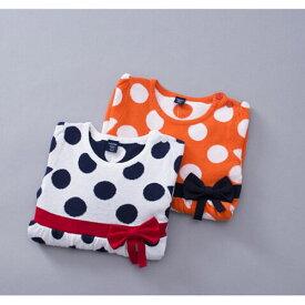 ベビー 赤ちゃん キッズ ジュニア 子供 女の子 長袖 セーター ニット 水玉 ドット リボン かわいい カジュアル 普段着