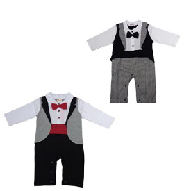 a52e6aede0913 ベビー 赤ちゃん 男の子 セットアップ タキシード フォーマル 紳士 長袖 ロンパース カバーオール ズボン風 結婚式 お誕生