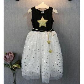 キッズ ジュニア 子供 女の子 ノースリーブ ワンピース 星 スター シンプル カジュアル かわいい 七夕 織姫 ダンス イベント