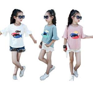 キッズ ジュニア 子供 半袖 Tシャツ プリント 魚 フィッシュ カラフル パステル かわいい カジュアル シンプル