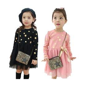 キッズ ジュニア 子供 女の子 ドレス フォーマル 長袖 ワンピース 星柄 かわいい お遊戯会 ギフト プレゼント ハロウィン 魔女 衣装