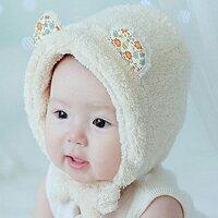 ベビー赤ちゃん服男の子女の子帽子ボアアニマルハットクマくまシンプル無地かわいい防寒あったか売れ筋