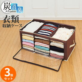 衣類収納 炭入り消臭 衣類収納ケース 3個セット | ケース 袋 不織布 保管 片付け 衣替え ソフトケース フロントオープン 前面出し入れ 前から