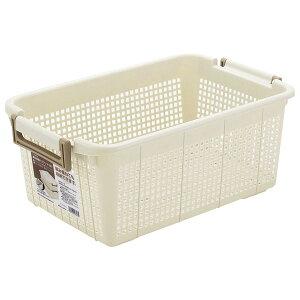 カゴ 重ね収納バスケット M 深型 アイボリー F26603   洗濯かご 脱衣カゴ 重ねる 深型