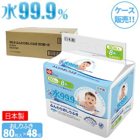 おしり拭き 水99.9% ふんわりおしりふき 80枚×8個入×6セット(48個) E-244 | ケース販売 赤ちゃん ベビー ウェットシート 純水 まとめ買い パラベンフリー アルコールフリー 日本製