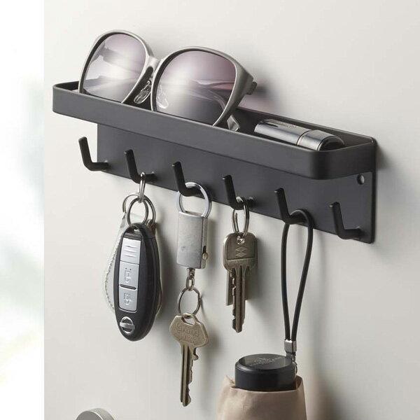 鍵掛け マグネット キーフック&トレイ スマート ブラック ( 鍵かけ フック 壁 )