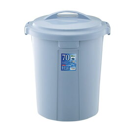 ゴミ箱 ベルク 丸型ペール 70N 75L 本体・フタセット ブルー ( ごみ箱 屋外 ポリバケツ )