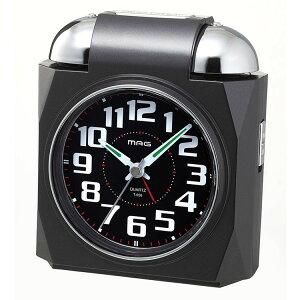 目覚まし時計 非電波 アナログ 大音量 ベル音アラーム MAG ベルアタック ブラック T-656-BK-Z目覚し時計 置き時計 うるさい 寝坊防止 学生 夜更かし 見やすい ギフト プレゼント 黒 【D】【B】