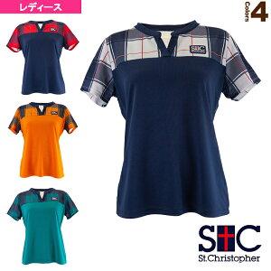 [セントクリストファー テニス・バドミントン ウェア(レディース)]ショルダーチェックゲームシャツ/レディース(STC-BAW6261)