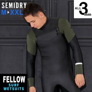 在庫限り ウェットスーツ セミドライ メンズ チェストジップ M〜XXL セミドライスーツ FELLOW 3mm スキン ラバー SEMIDRY 冬用 サーフィン 保温 起毛 素材 超撥水加工 ウエットスーツ ストレッチ SUP
