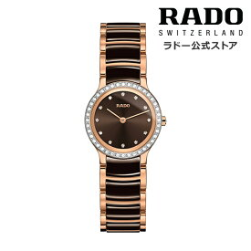 【ラドー 公式】 腕時計 RADO Centrix Diamond セントリックス ダイヤモンズ クォーツ 23mm ブラウン 文字盤 セラミック ブレスレット 30m防水レディース腕時計 高級腕時計 ステンレススチール ダイヤモンド 新生活 新社会人 ビジネス シンプル エレガント