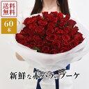 赤バラのブーケ60本 国産 ラウンドブーケ 赤薔薇60本 バラ花束 生花 ギフト プレゼント 女性 還暦祝い プロポーズ 誕生日 記念日 御祝 母の日 結婚記念日 発表会 送別会 送料無料 あす楽 ROR60