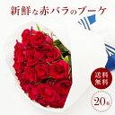 赤バラのブーケ20本 国産 産地直送 ラウンドブーケ 赤薔薇20本 バラ花束 生花 ギフト プレゼント 女性 還暦祝い プロ…
