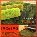 ラグ 洗える ラグマット 190×190 約 2畳 癒しカラー グリーン 緑 みどり ロング じゅうたん シャギーラグ 正方形 送料無料 リビング カーペット ホットカーペットカバー 絨毯 洗濯可 ム