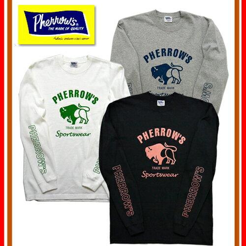 Pherrow's フェローズ 18S-PLT2 バッファローロゴプリントロンT 長袖 Tシャツ