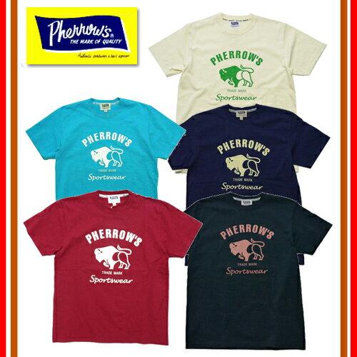 【1枚までレターパックライト対応】【新色追加】 【再入荷】 Pherrow's フェローズ 18S-PT2 バッファローロゴ プリント Tシャツ 定番