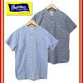 【限定生産】Pherrow's/フェローズ18S-791WSSバンドカラーワークシャツ半袖アメカジコットンリネン