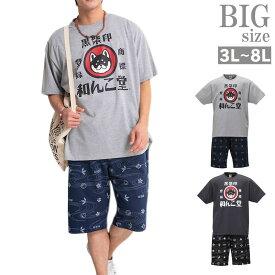 セットアップ 夏 大きいサイズ メンズ 半袖tシャツ ハーフパンツ 上下 黒柴印 和んこ堂 C010607-08