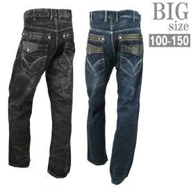 デニムパンツ 大きいサイズ メンズ ジーンズ ジーパン PUレザー 合成皮革 フェイクレザー C010829-04