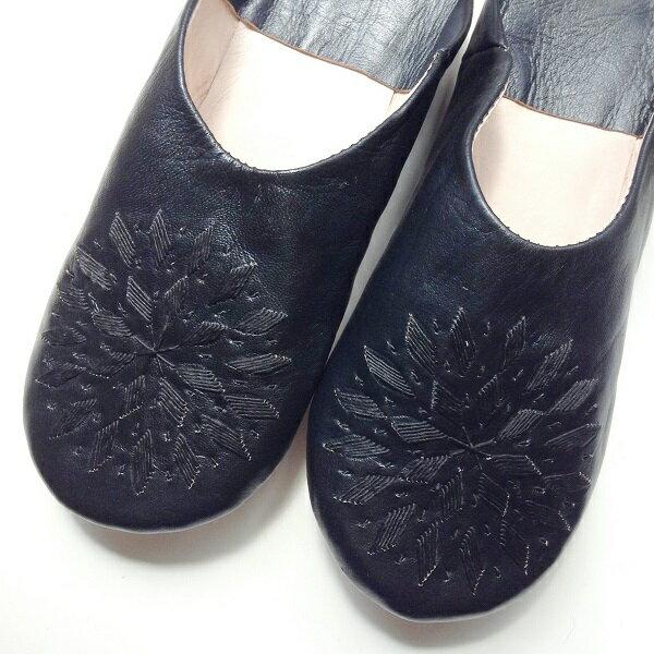 モロッコ スリッパ バブーシュ 刺繍 ブラック 室内履き スリッパ ルームシューズ 靴 かわいい 可愛い おしゃれ 女性 男性 レディース メンズ 手作り モロッコ雑貨 ギフト プレゼント