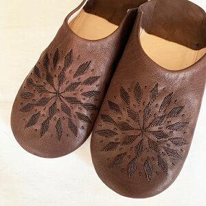 モロッコ スリッパ バブーシュ 刺繍 ブラウン 室内履き スリッパ ルームシューズ 靴 かわいい 可愛い おしゃれ 女性 男性 レディース メンズ 手作り モロッコ雑貨 ギフト プレゼント