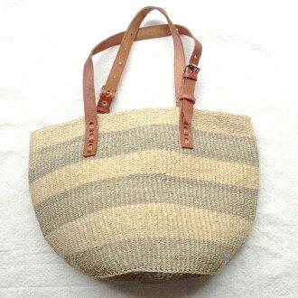 劍麻袋平皮革手柄可調非洲肯雅籃子籃子回來自然 04