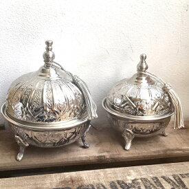モロッコ シュガーポット ドーム(M) シルバー 小物入れ タッセル インテリア エスニック スパイスポット ミントティー ティーポット モロッコ雑貨 おしゃれ ギフトプレゼント 小物入れ ふた付き 卓上