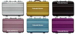 【ネコポス送料無料】アタッシュケース型アルミ製名刺ケース 全6色 名入れ仕様(片面2ヶ所)[シルバー/ブラック/オーキッド/ゴールド/ピンク/ブルー/カードケース/ポイントカード入れ/