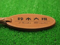 牛皮製ネームタグ縦100×横58×厚4mm旅行・ゴルフバックなどに貴方のお名前お入れします