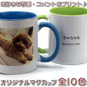 写真大きめシンプルデザインの名入れマグカップ♪ギフト・プレゼントに最適!メモリアル写真・お子様やペットの写真入りマグカップを1個から作成!カップサイズが選べる!父の日/母の