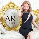 AngelR エンジェルアール[バストカッティングビジュータイトニーレングスドレス]ミニドレス タイト ノースリーブ 細い…