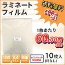 ラミネートフィルム 両面マットタイプ 100ミクロン A4サイズ 10枚入り【ゆうパケット配送商品】