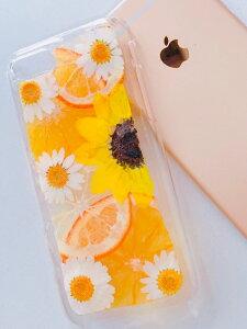 【送料無料/全機種対応】ドライフルーツ 押しフルーツ スマートフォンカバー 《ひまわり オレンジ メイヤーレモン ノースポール ファッション 手作りスマホ ハードケース カ