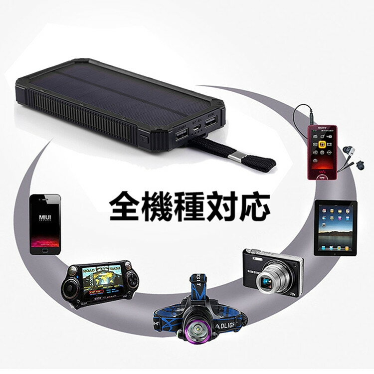 モバイルバッテリー 大容量 15000mAh 軽量 太陽能 充電器 高級感あり iPhone モバイル バッテリー iPad Android スマホ充電器 携帯充電器 アイフォン スマートフォン LEDライト 付き 緊急防災用 ソーラーパネル