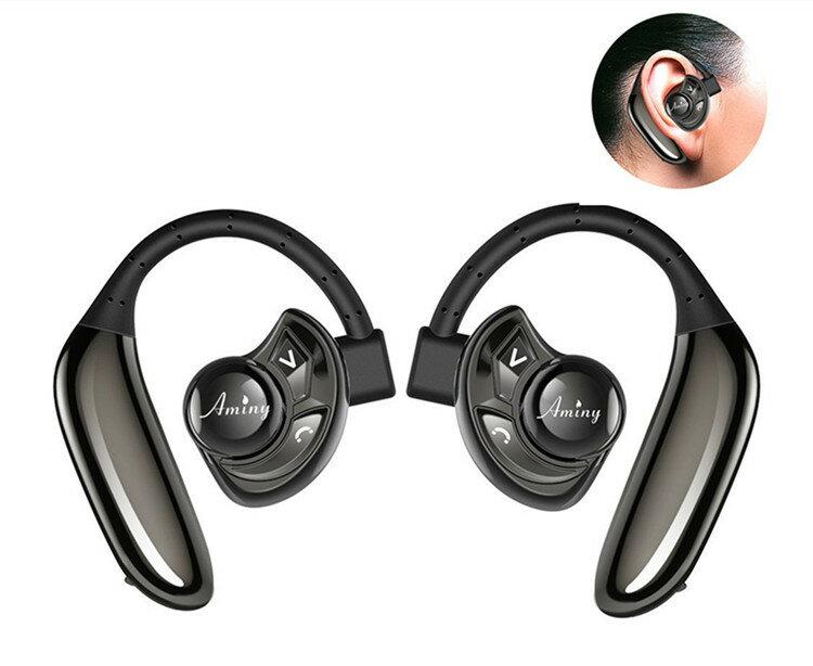 Bluetooth イヤホン 高音質 ブルートゥース イヤフォン 耳かけ式 ヘッドセット スポーツ イヤホン ワイヤレス 片耳 両耳とも対応 ランニング 音楽 通話可 ハンズフリー マイク内蔵 イヤーフック コンパクト iPhone 7 plus 6S Galaxy Andoroid 対応 防水/防汗