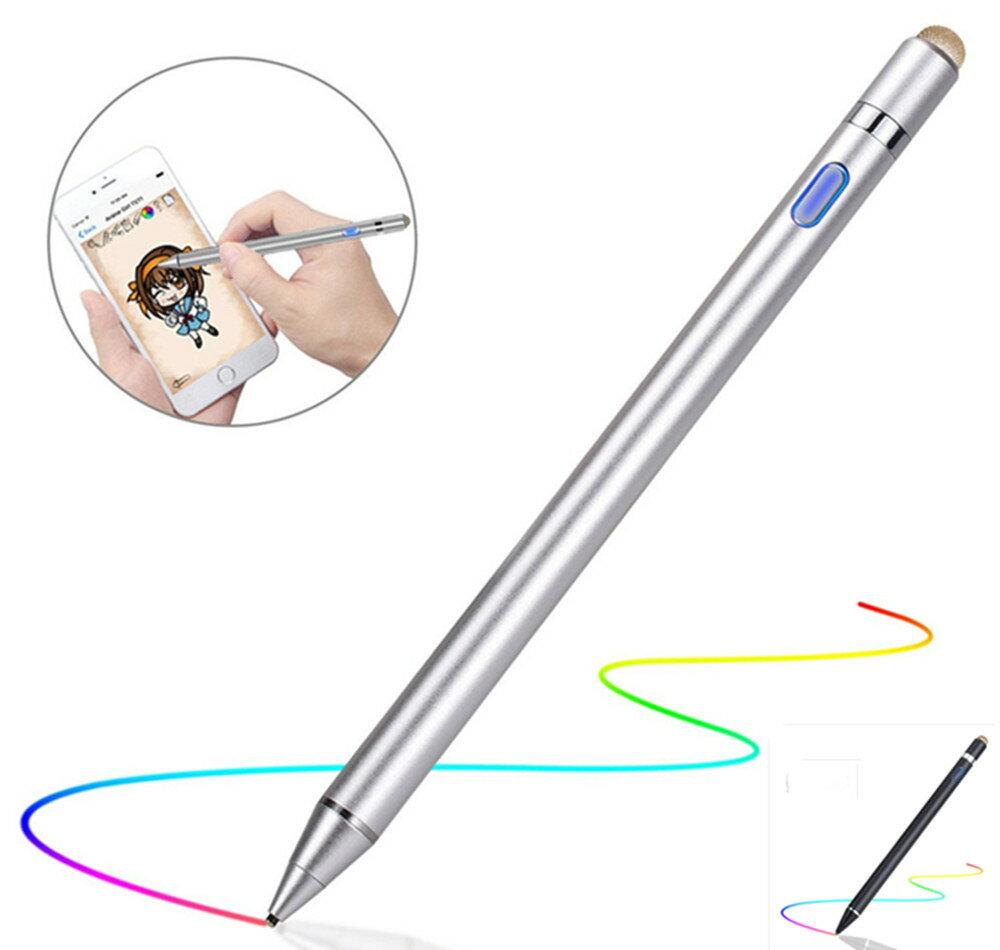 【超高感度】 タッチペン 極細 1.45mm スマートフォン タブレット スタイラスペン iPad iPhone Android対応 ツムツム 金属製 軽量 充電式 タッチ ペン 細/太両側使る 銅製ペン先 導電繊維ペン先 touchpen