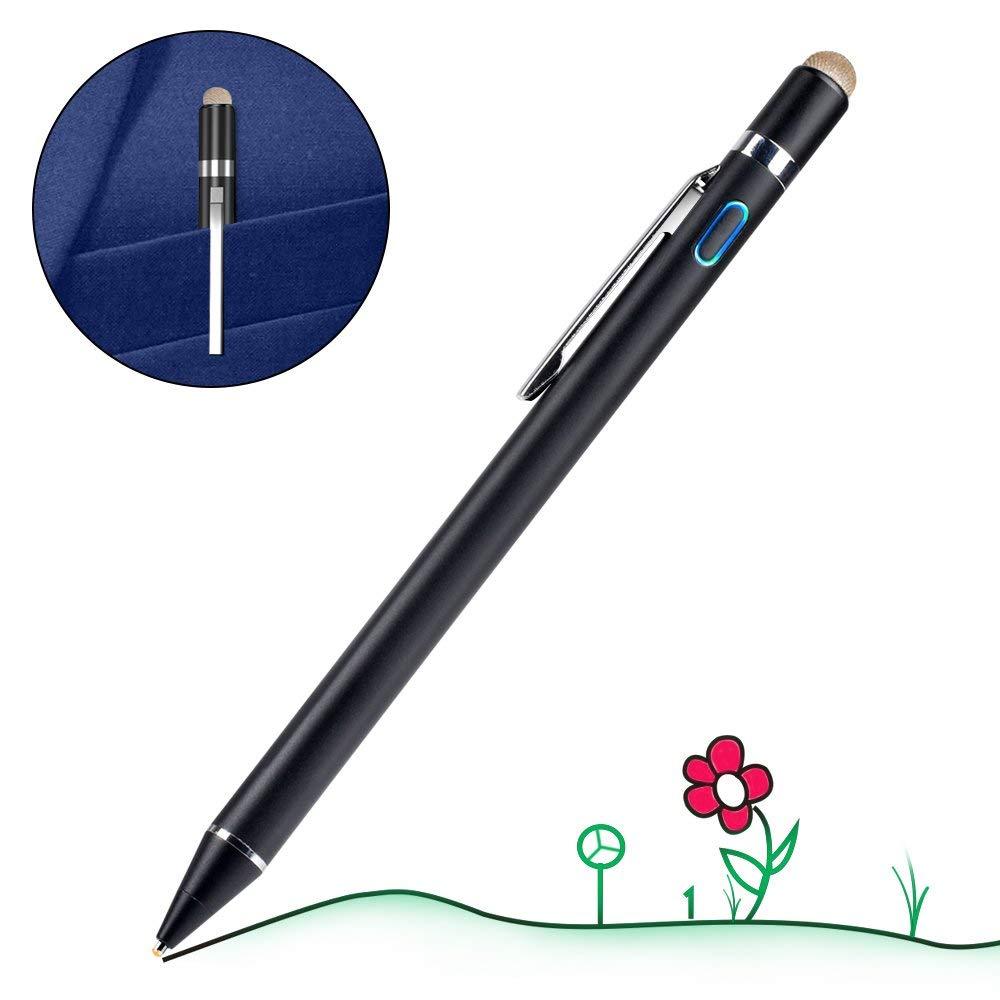 タッチペン 極細 1.45mm スマートフォン タブレット スタイラスペン iPad iPhone Android対応 高感度 ツムツム 金属製 軽量 充電式 タッチ ペン スマホ 細/太両側使る 銅製ペン先 導電繊維ペン先