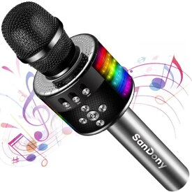 カラオケマイク Bluetooth ブルートゥース ポータブルスピーカー 大容量 2800mAh ワイヤレスマイク 音楽再生 高音質 ノイズキャンセリング LEDライト付き 新年会/忘年会/宴会/パーティー/司会 Android&iPhone対応 ギフト 送料無料