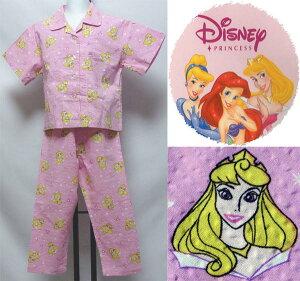 【送料無料】ディズニープリンセス眠れる森の美女 オーロラ姫綿100% 肌に優しい天然素材吸湿性・通気性に優れています上着:前開き半袖子供パジャマ100センチdisneyキッズパジャマ Disney