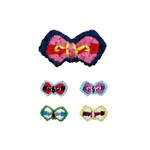[刺繍ブローチ]手刺繍風蝶タイ(ボーダー)Made in japan刺繍、ブローチ、全面刺繍、軽い、リボン